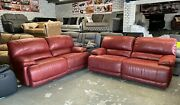 Harveys Guvnor 3 Plus 3 Seater Recliner Sofa Red Suede Type Fabric Large Seats