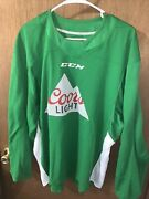 St.pattyandrsquos Coors Light Ccm Nhl Green Hockey Jersey L New W/tags