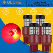 4x Glofe 7443 7440 Brake Tail Stop Lights Flash Strobe Blinking Red Led Bulbs