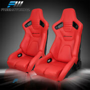 Bucket Racing Seat X2 Adjustable Universal Red Pu And Carbon Leather 2 Dual Slider