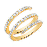 1.00 Cttw Natural Diamond Spring Wrap Ring Solid 14k Yellow Gold