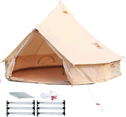 Happybuy Bell Tent 10-12 Persons Canvas Tent 4-season Yurt Tents For Camping Wat