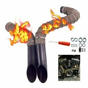 """2""""black Drag Pipes With Non-fade Titanium Heat Shield Tape For Harley Black"""