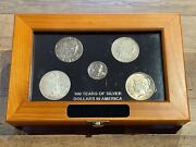 100 Years Of Silver Dollars In America Collection - 5 Coin Set In Display Case.