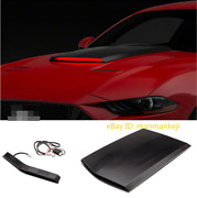 For 2018-21 Ford Mustang Black Front Racing Style Air Vent Hood Scoop With Light