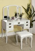 Furniture Of America Matilda Chippendale Style Vanity And Stool Setcherrywhite