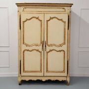 Early French Antique Original Paint Gilded Armoire Vintage Linen Press C1750