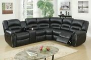 3pcs Black Bonded Leather Reclining Sectional Sofa Set With Three-tiered Back