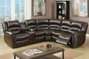 3pcs Brown Bonded Leather Reclining Sectional Sofa Set With Three-tiered Back
