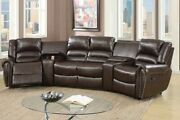 25pcs Brown Bonded Leather Reclining Sofa Set Home Theater Sectional Sofa Set