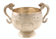 A Victorian Silver Two-handled Bowl,by George Fox, London 1878, In The Chinese