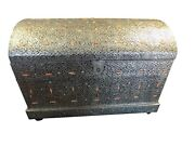 Moroccan Design Silver Embossed Metal Storage Chest Trunk W 40 X H 28 X D 24