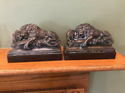 Antique Cast Metal Reclining Lion Of Lucerne Bookends