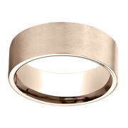 14k Rose Gold 8.00 Mm Comfort-fit Menand039s Wedding And Anniversary Band Ring Sz-10