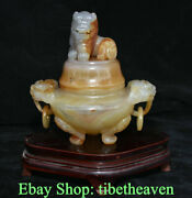 9 Chinese Natural Red Agate Chalcedony Carving Lion Ear Ring Incense Burners