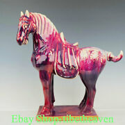 16 Old China Jun Kiln Porcelain Song Dynasty Red Glaze Horse Success Statue