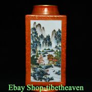 12 Marked Old Chinese Famille Rose Porcelain Palace Square Scenery Bottle Jl