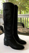 Black Calfskin Leather Knee High Tall Riding Boots And Box Womenand039s 7 1/2 B