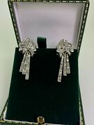 14k Pink Gold Silver And 0.50ct Rose Cut Diamonds Russian Art-deco Style Earrings