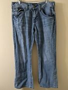 Guess Mens Jeans Relaxed Boot Rancho Fit Blue 36x30 Thick Stitch Denim