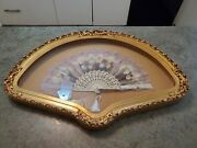 Gorgeous Vintage Hand Painted Floral Flowers Lace Design Framed Hand Fan 26.5