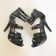 G By Guess 5 Inch Black Strappy Open Toe Heels 7m