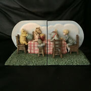 Disney Classic Winnie The Pooh And Friend Garden Party Bookend Figurine Statue Set