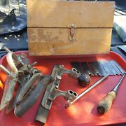 Vintage Stanley 45 Combination Plow Plane Wood Tool Sweetheart Cutters Tin Box