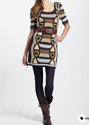 New Xs S Anthropologie Medallion Sweater Dress By Fiets Voor 2, Multicolor Knit