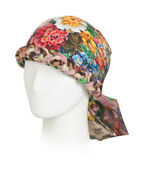 Nwt Made In Italy Invite And Floral Print Silk Turban Size 57 / M 1600