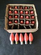 25 Vtg Ge Westinghouse Mazda C9 Swirl Red Flame Xmas Light Bulbs Tested Working