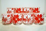 Vintage Set Of 8 Rare Geoges Briard Orange And White Flower Low Ball Glasses