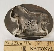 Antique Tin Early Animal Cookie Cutter Flat Back Folk Art Home Made Lion Horse