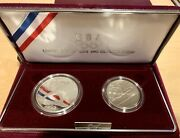 1992 U.s. Olympic 2-coin Proof Set Silver Dollar And Clad Half Dollar W/box And Coa