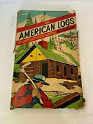 Vintage American Logs By Halsam Wood Cabin Building Lincoln Logs Full Set