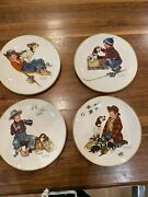 1971 Norman Rockwell Four Seasons Set Of 4 Plates A Boy And His Dog Gorham 1958