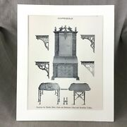 1900 Victorian Print Chinese Chippendale Cabinet Table Furniture Design