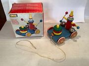 Vintage Brio Pingel Pelle Painted Pull Bell-ringing Clown Toy Made In Sweden Box