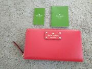 Kate Spade Wellesley Neda Zip Around Clutch Wallet Lacquer Red Nwt 145