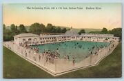 Postcard Ny Swimming Pool Indian Point Hudson River New York Hand Colored Ab1