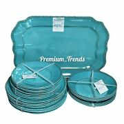25pc Shabby Chic Melamine Rustic Turquoise Dinner And Salad Plates Bowls Platter