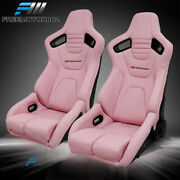 Bucket Racing Seat X2 Adjustable Universal Pink Puand Carbon Leather 2 Dual Slider