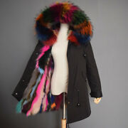 100 Real Fur Mid Long Parka Outwear Jackets Super Warm Fashion Thick Overcoat