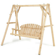 Wooden Porch Swing Patio Rustic Torched Curved Back Bench A-frame For Outdoor