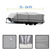 21-24ft 600d Oxford Fabric High Quality Waterproof Boat Cover And Storage Bag Gray