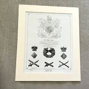 Antique Military Print British Army Royal Arms Badges Of Rank Antique Insignia