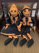 Joe Spencer Gathered Traditions Parker And Paige Pumpkin Head Doll Set Halloween