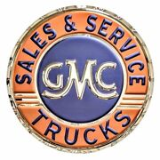 Gmc Trucks Sales And Service Wall Hanging Sign 22 Inches - Chrome