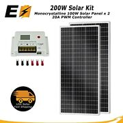Expertbattery 200w 12v Monocrystalline Solar Panel Kit With 20a Pwm Controller