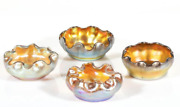 Set Of 4 Favrile Iridescent Art Glass Open Salts Signed Early 20th